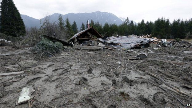 Footprints from searchers remain in mud at the edge of a deadly mudslide in Oso, Washington. Taken on 25 March 2014 (slide occurred March 22).