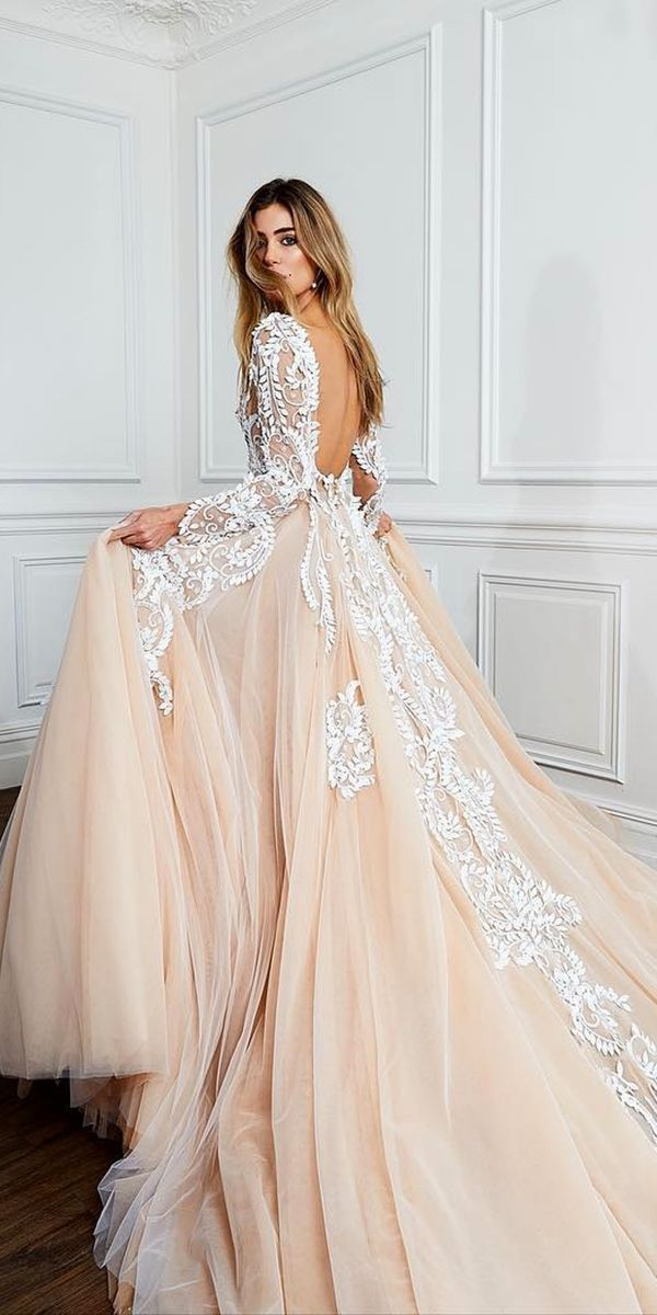 Hottest 21 Wedding Dresses Fall 2018 ❤ blush ball gown open back lace wedding dresses pallas couture ❤ See more: http://www.weddingforward.com/wedding-dresses-fall-2018/ #wedding #bride #bridalgowns