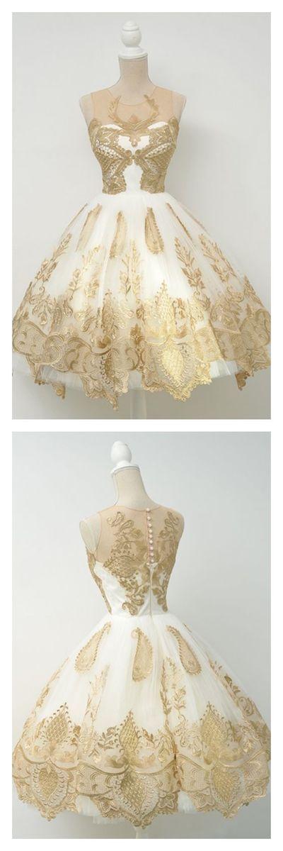 Elegant Gold Applique Knee Length Homecoming Dresses Party Dresses Prom Dresses Cocktail Dresses Graduation Dresses,42