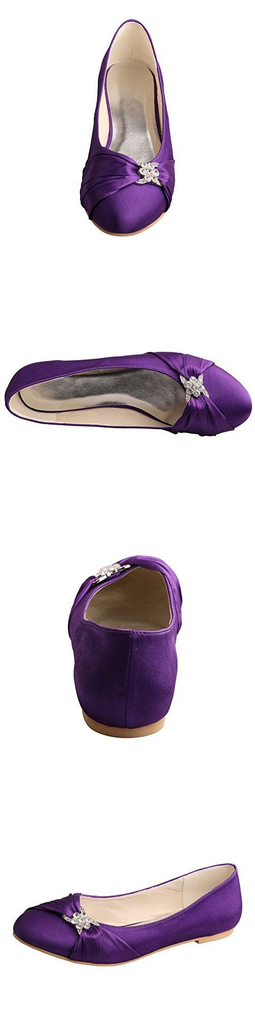 Wedopus MW757 Women's Pleated Closed Toe Ballet Flat Satin Wedding Shoes for Bride Size 10 Purple