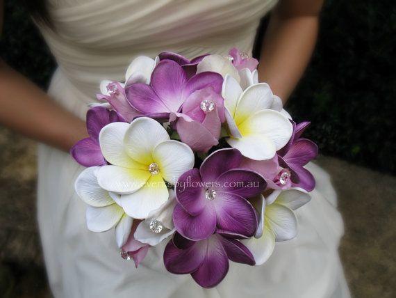 Wedding Bouquet Real touch Roses Frangipani plumeria posy diamante purple lilac white ivory Beach Destination Bridal flowers