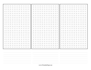 This dot paper has three distinct grids and lines for taking notes. Free to download and print