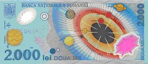 В Румынии была выпущена денежная банкнота, посвященная солнечному затмению 11 августа 1999 года