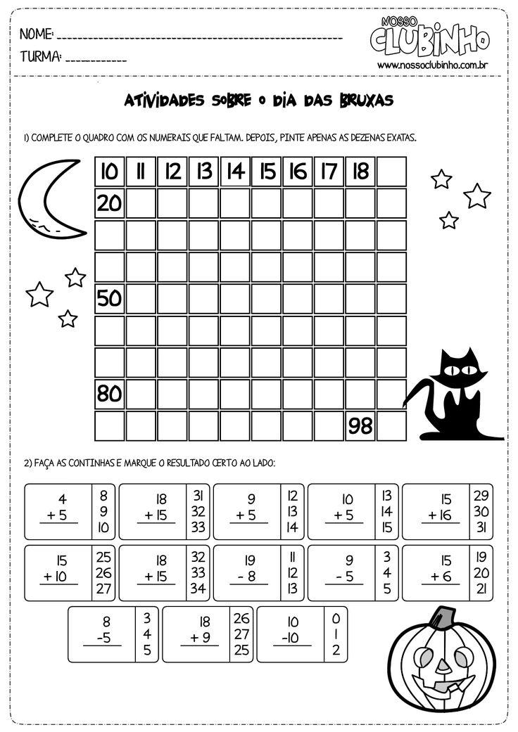 atividades de matemática 2 ano sobre o dia das bruxas