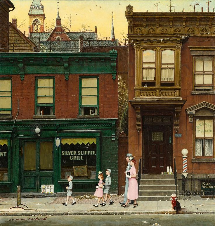 Norman Rockwell - private collection. Walking to a Church (1953)
