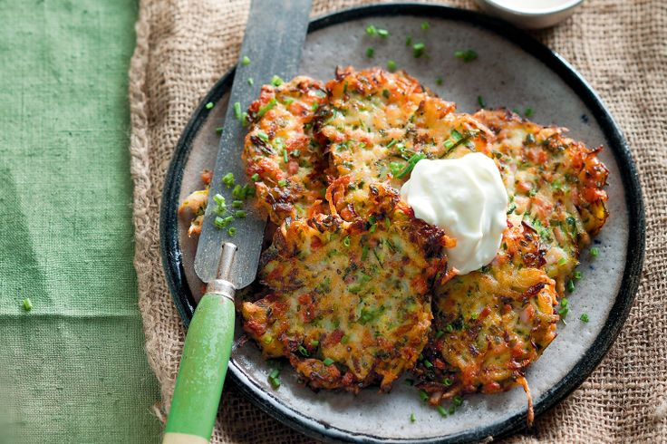 A healthier alternative to hash browns, these zucchini fritters are the ideal snack to sneak in a serve of greens, March 7, 2013 http://www.taste.com.au/recipes/31467/zucchini+and+bacon+fritters+with+garlic+yoghurt