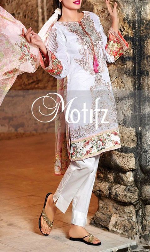 Buy White Embroidered Cotton Lawn Dress by Motifz 2016www.pakrobe.com Call:(702)…