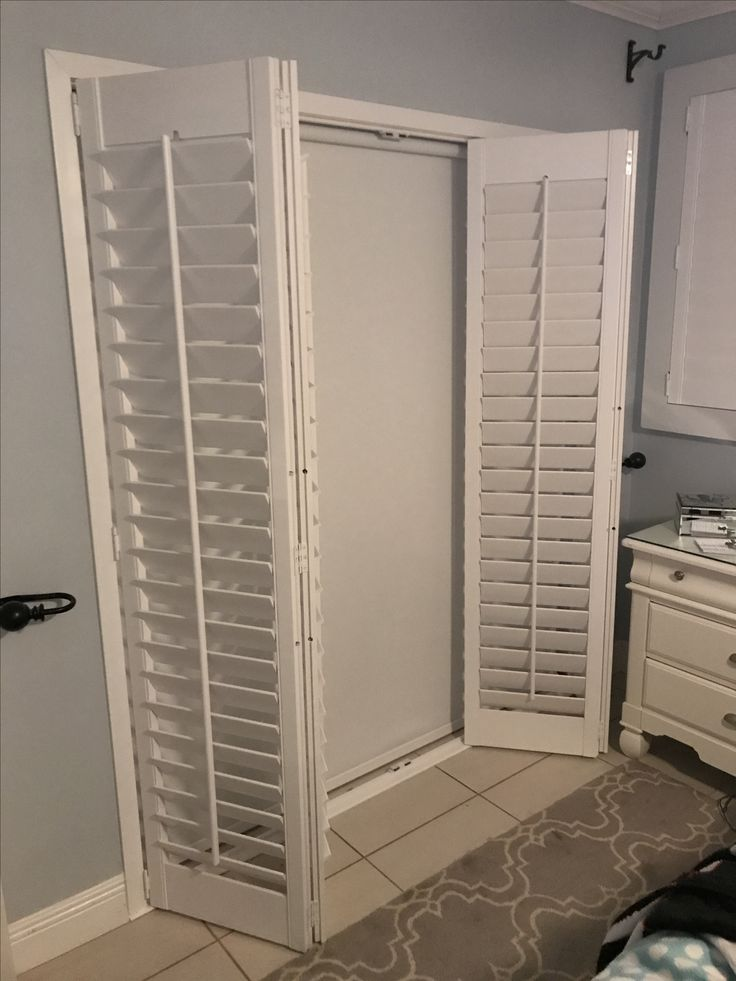 Bifold Plantation Shutters On French Doors With Blackout
