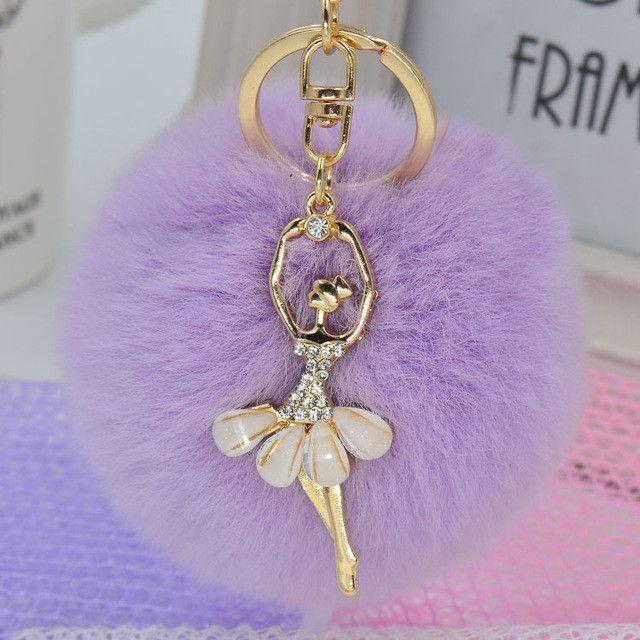 Women Rabbit Fur Cony Hair Rhinestone Ball Pom Pom Charm Car Keychain Handbag Ke