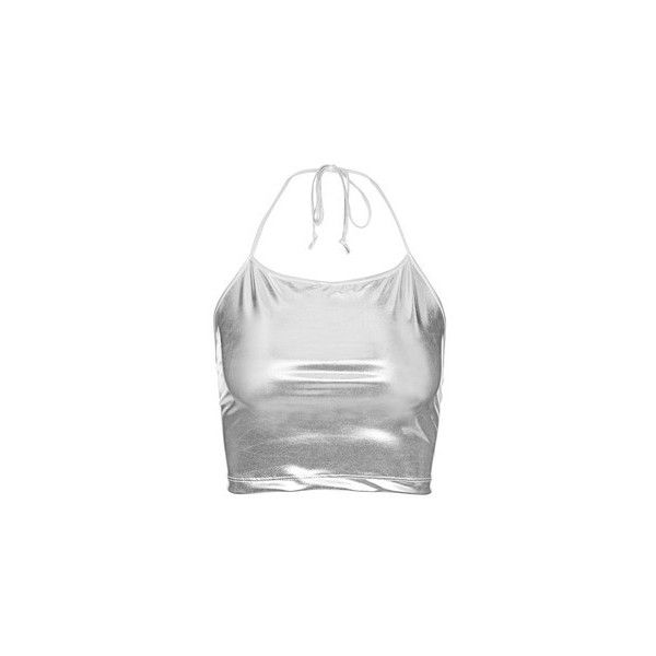 Franny Crop Top by Motel ($22) ❤ liked on Polyvore featuring tops, silver, tie top, spaghetti strap crop top, white bandeau top, cut-out crop tops and white crop top