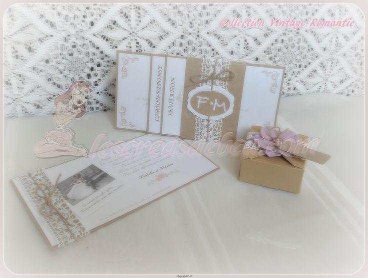 Collection Vintage Romantic Faire-part, Carte Remerciement et Boîte à dragées https://www.facebook.com/LCDBbybea