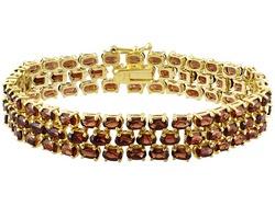 Vermelho Garnet(Tm) 28.50ctw Oval 18k Yellow Gold Over Bronze Bracelet