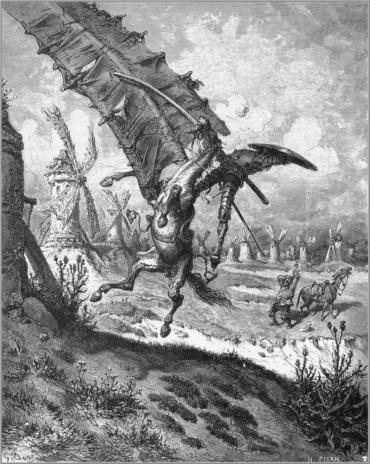 """Don Quixote fighting a windmill on his horse, Rocinante. In the background Sancho Panza next to his donkey.  Illustration 6 for Miguel de Cervantes's """"Don Quixote"""" by Gustave Doré, 1863."""