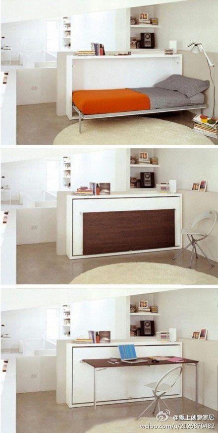 Space saving Murphy bed.