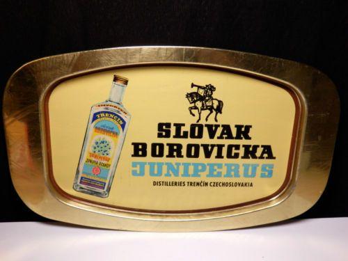 Vintage Original Slovak Borovicka Juniper Brandy Trencin alco metal plate tray in Collectibles, Advertising, Food & Beverage, Distillery, Other Distillery Ads   eBay