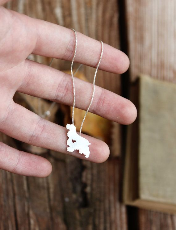 Cocker Spaniel necklace tiny sterling silver door JustPlainSimple