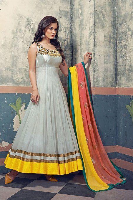 Fabfiza Grey and Yellow Net Embroidered Semi-stitched Anarkali Suit