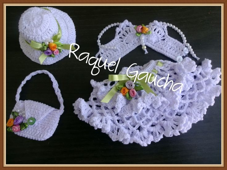 #EuroRomaEspecial5 #Barbante #Barbie #Muñeca #Doll #Roupa #Crochet #Dress #Chapéu #Hat #Sombrero #Bolsa #Purse #Top #Saia #RaquelGaucha