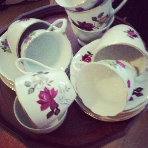 Beautiful floral teacups and saucers www.butterflyivy.weebly.com