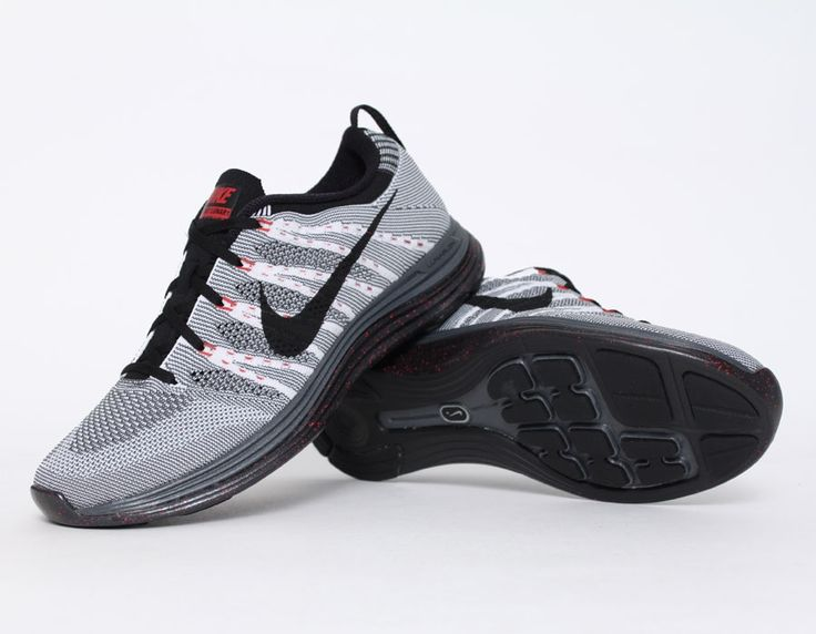 reputable site 55c42 273f5 ... Nike Flyknit Lunar 1+ Grey Red Sneakers Mens fashion Pinterest Flyknit  lunar, Red sneakers ...