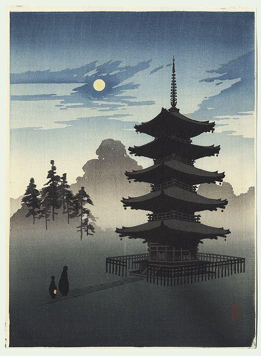A Pagoda by Moonlight by Shoda Koho (1871 - 1946)