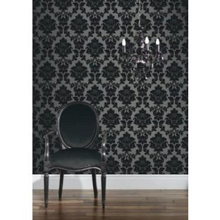 Classics Regency Damask Wallpaper - Black and Silver from Homebase.co.uk