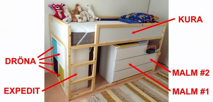 Materials: Kura, Malm, Expedit, Drona, Mammut, formica board  Description: What we want: - make more place in my son's room - offer him a secret play ro
