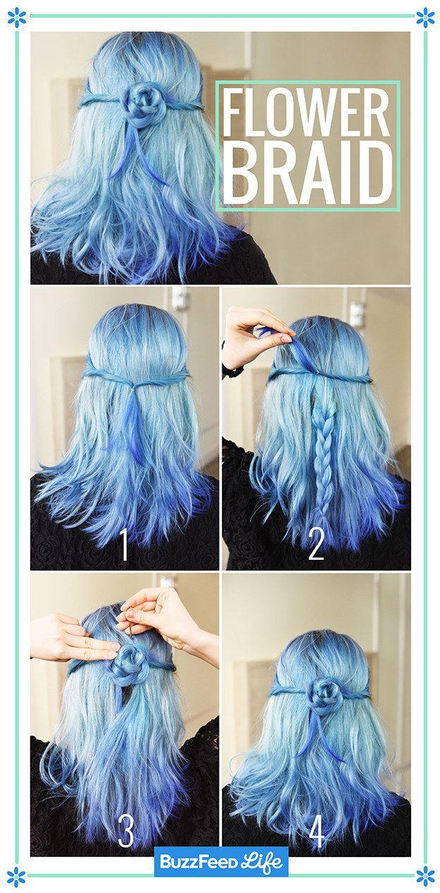 Penteado de flor com o cabelo azul.