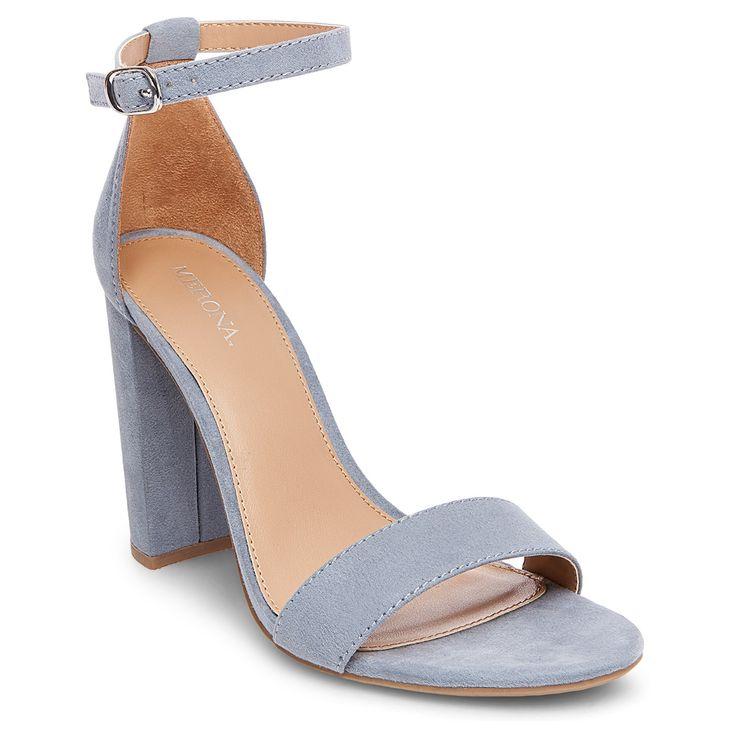 Women's Lulu Wide Width High Block Heel Sandal Pumps with Ankle Straps - Merona Blue 8.5, Size: 8.5 Wide