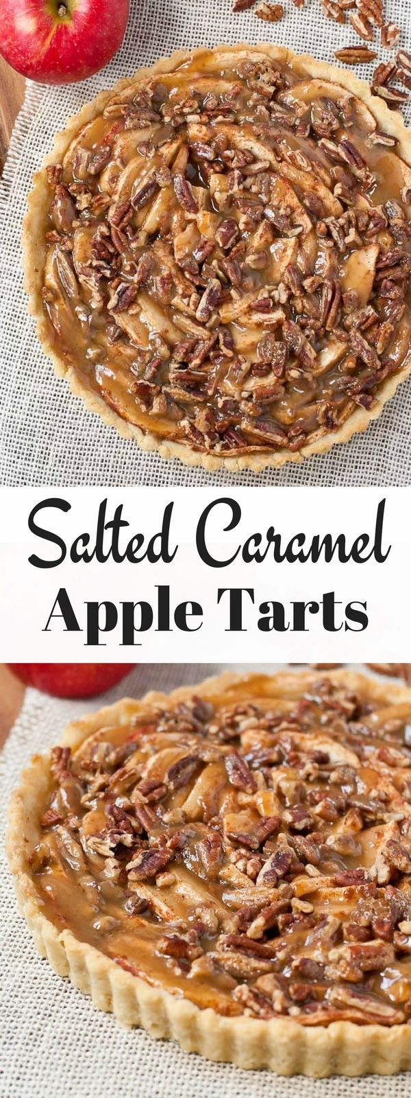 This Salted Caramel Apple Tart is outrageously delicious, and with an easy homemade crust recipe, it comes together quickly!