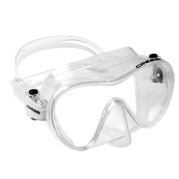 Cressi's frameless mask is lightweight, low volume and offers a compact profile. Its flared single window lens provides good field of view, including over the bridge of the nose. The silicone skirt's double seal system is effective in blocking water entry. Strap buckles attach directly to the skirt, allowing for lots of lateral movement, plus lets the mask fold flat for packing. The mask comes with a black or white skirt.