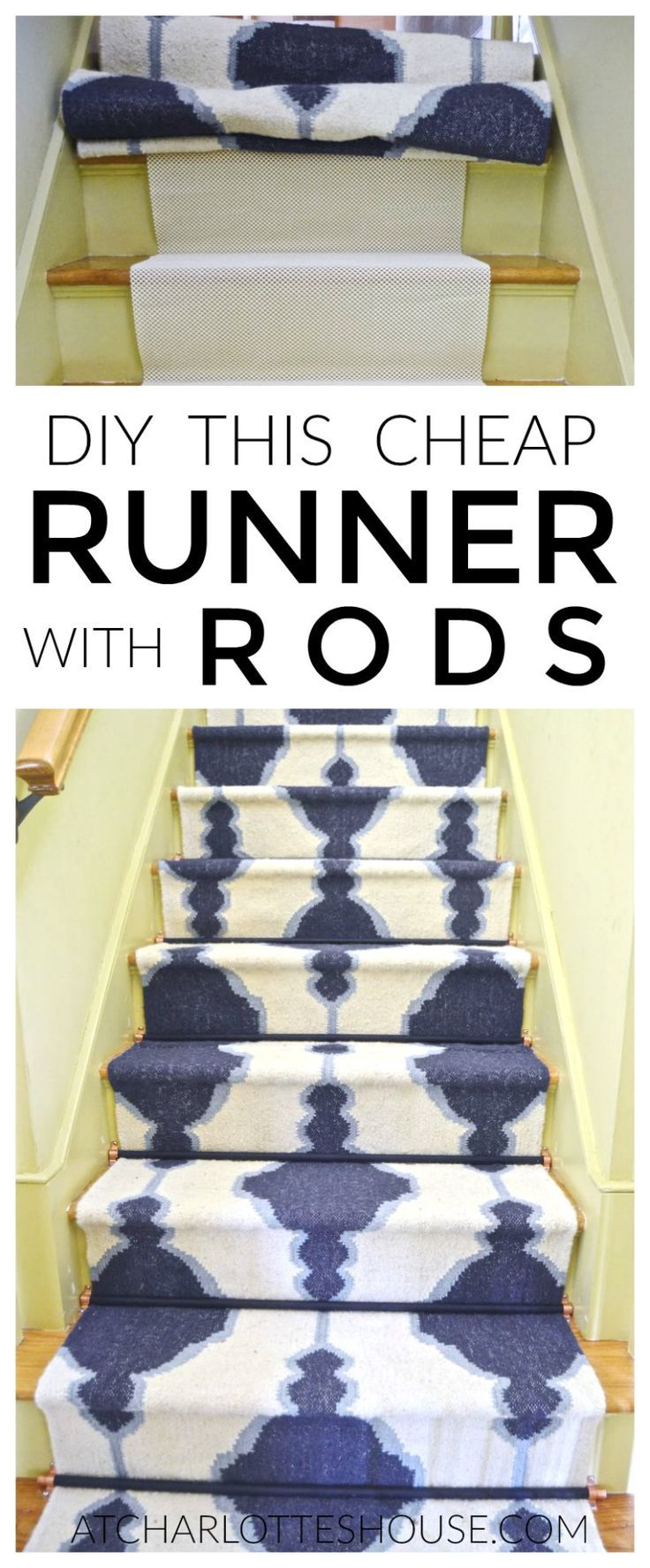 Super inexpensive and easy way to add a staircase runner WITH stair rods... under $20 if you can believe it!