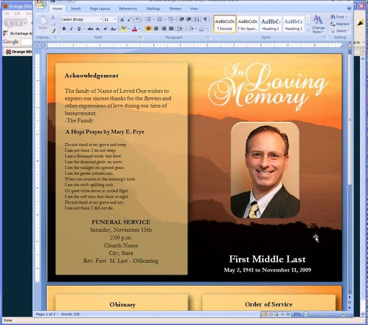 Free funeral program templates for Free funeral program template microsoft publisher