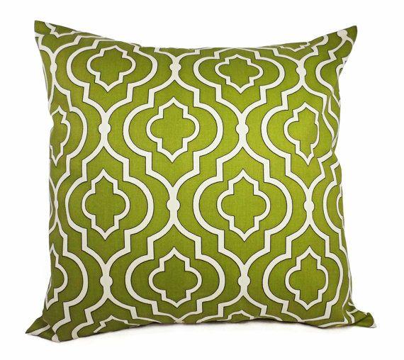 Quatrefoil Decorative Pillow : Two Green Decorative Pillow Covers - Green Quatrefoil Pillow - Pillow Cover - Green Moroccan ...