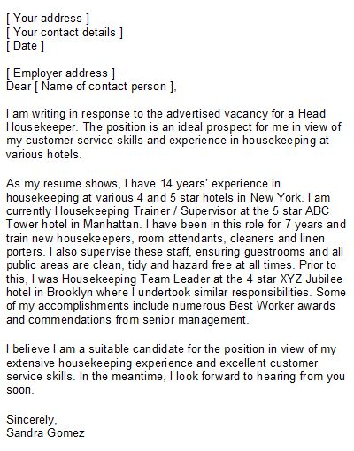Professional Resume Cover Letter Sample | The sample housekeeper cover letter above is intended to give ...