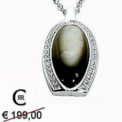 """#Collezione   #Collana   #Cerruti   #Offerte   e #Prezzo   #Online   : #realizzata   in #argento   e rifinita con #rodio  . Il #ciondolo   è composto da #perla   #nera   circondata da #diamanti   di #cristallo   . Collezione """"Perla Nera"""""""