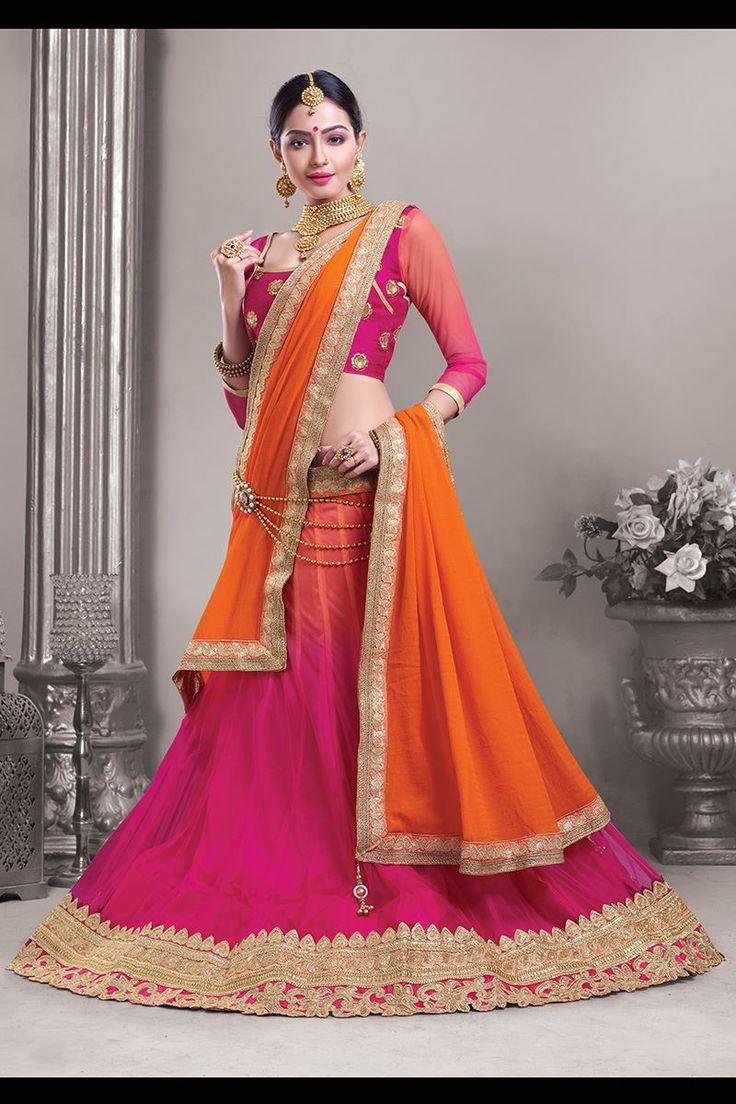 Show details for Gracious pink & orange lehenga choli set