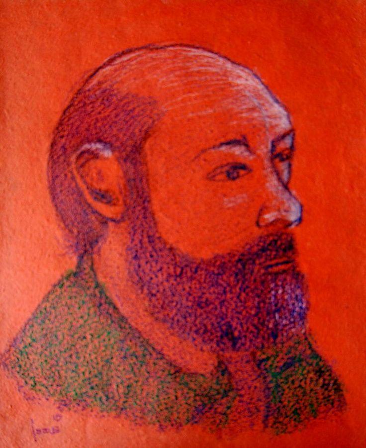 El Maestro. Crayón  sobre papel. 51x42cms. 2016. Jesús Martínez.