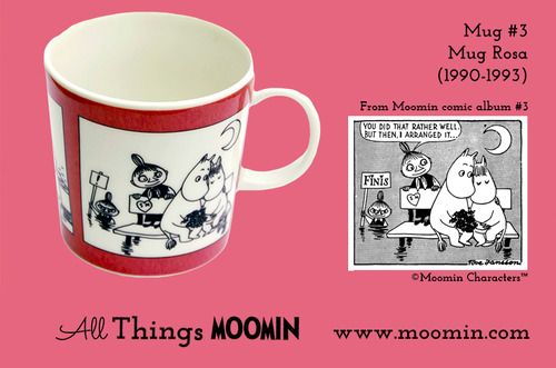 Moomin mug #3 by Arabia Moomin mug number 3  Produced: 1990-1992  Illustrated by Tove Slotte and manufactured by Arabia.  The original comic strip can be found in Moomin comic album #3.  See all our available mugs at Moomin.com!