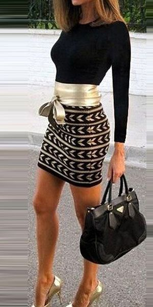 Mode Lange Mouwen Ronde Nek Hoge Taille Slanke Pasvorm Bedrukt Jurk