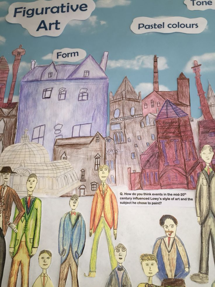 A close up of the Lowry inspired figures drawn by J5