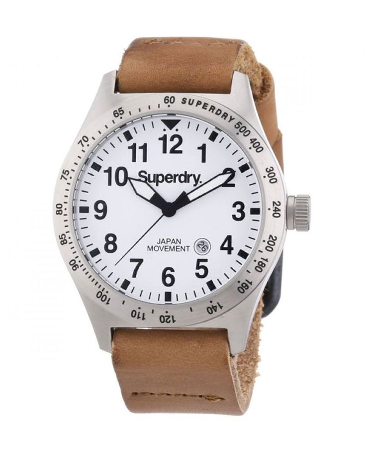 Triton Men's Analog Date Men's Watch by Superdry. This men's Superdry Triton watch is made from stainless steel featuring a brown leather strap and a white dial. Stylish watch for everyday use and perfect for gift. http://www.zocko.com/z/JGA4s