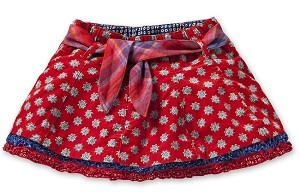 Oilily Sterre Red Caleido Print Double Ruffle Hem Belted Skirt  *Preorder*