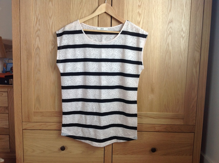 Oasis cream lace print and black striped top size Medium. Worn twice. 100% polyester.  £6 incl p Show interest here and then PM me for more info.