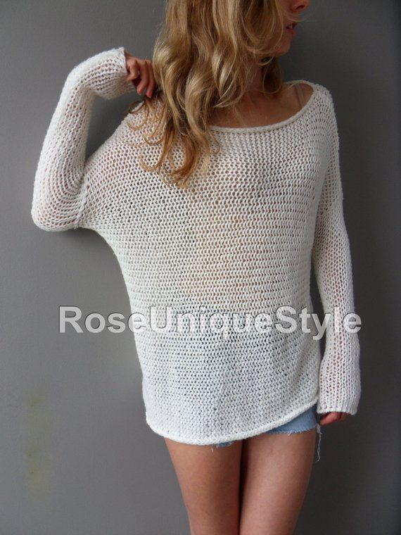 Slouchy/ Spring/Summer cotton blend sweater. Loose knit sweater.