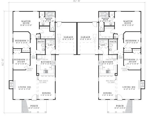 24 best images about duplex house plan on pinterest for Back to back duplex house plans