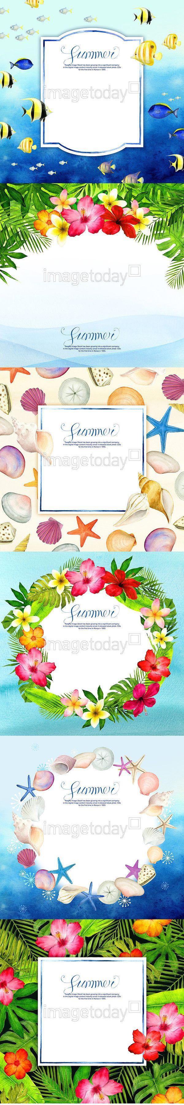 일러스트 일러스트레이션 일러스트레이터 드로잉 계절 꽃 백그라운드 불가사리 블루 사람없음 소라껍데기 수채화 식물 여름 여름방학 여행 원형…