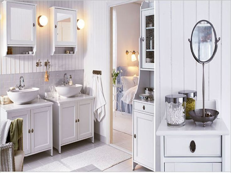 Furniture Beautiful Sweet And Stylish Ikea All White Bathroom Interior Design With Twin Ikea Vanities Bathroom Cabinet Set Also White Wood Wall Panels