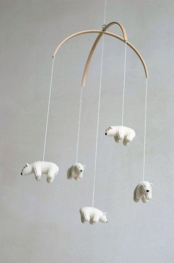 Adorable polar bear mobile for an all white nursery