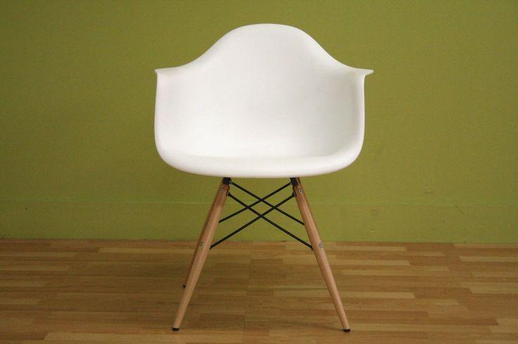 Amazon.com - Baxton Studio Fiorenza White Plastic Armchair with Wood Eiffel Legs, Set of 2 - Dining Chairs